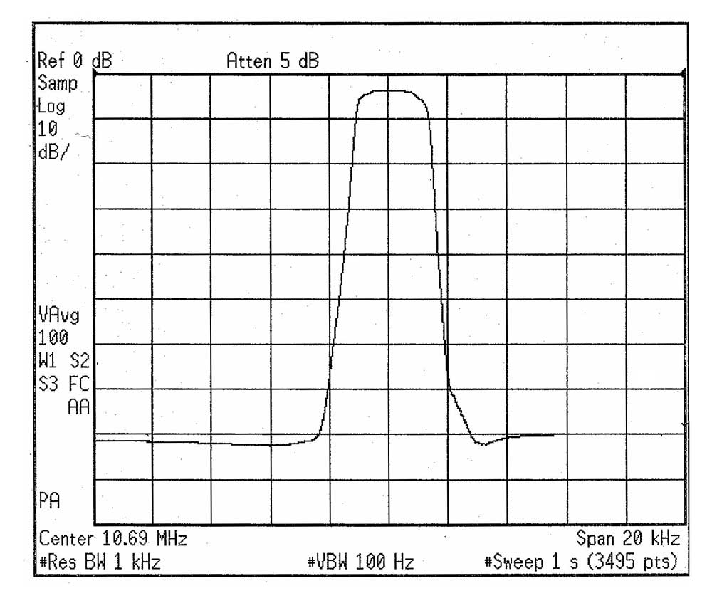 F-10M6935 | 10 6935 MHz crystal band-pass filter, 8 poles