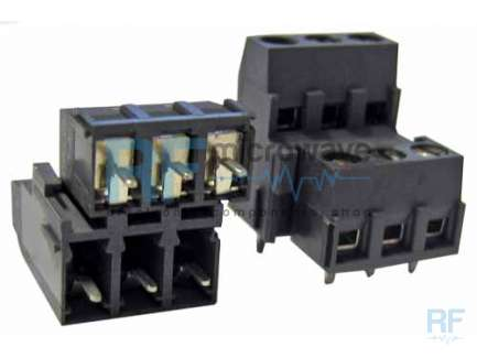 Dual level array 3 + 3 ways PCB mounting terminal blocks