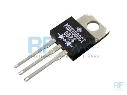 General Semiconductor MBR1560CT Double Schottky diode rectifier, 60V, 15A, TO-220 plastic package