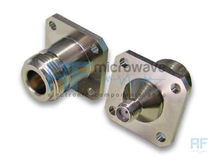 4 holes flange N female to SMA female coaxial adapter