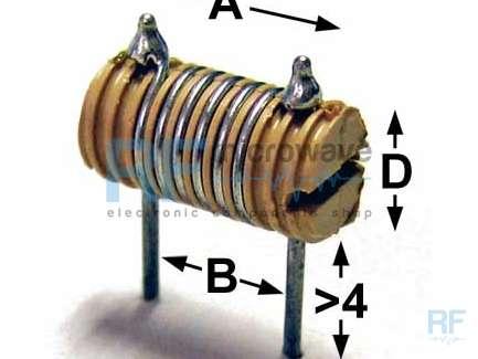 Coil 150 nH, Q = 65 at 70 MHz, A = 12 mm, B = 7.5 mm, D = 4 mm