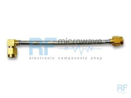 Cable assembly, 2x SMA male/right angle male, UT141-AL, 1.3 m