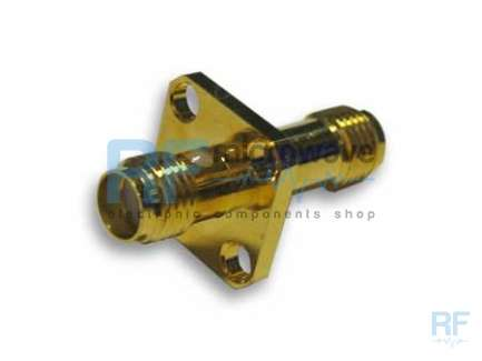 4 holes flange SMA female to SMA female coaxial adapter