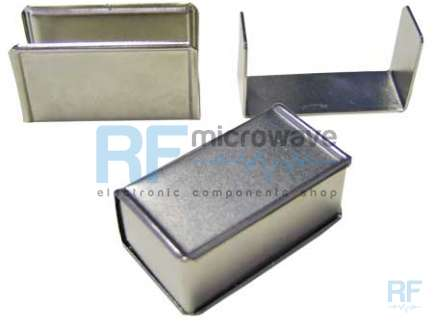 Nichel iron box, base thicknes 1mm, cover thickness 0.7 mm, external size 54 x 22 mm, H 30 mm, with fixing clips
