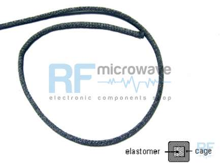 RFI Shielding ltd MSS51-0032-0032 Conductive metallic gasket with elastomer core, size 3.2 x 3.2 mm, it can be compressed up to 2 mm of thickness