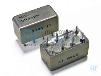 Mini-Circuits SRA-2H HF, VHF and UHF high dynamic passive mixer, LO/RF 2-1000 MHz, IF dc-1000 MHz, LO power level +17dBm, metallic hermetic package