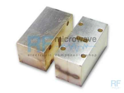 WR42 18-26.5 GHz waveguide silver plated aluminium support that can be used as spacer for a waveguide extension