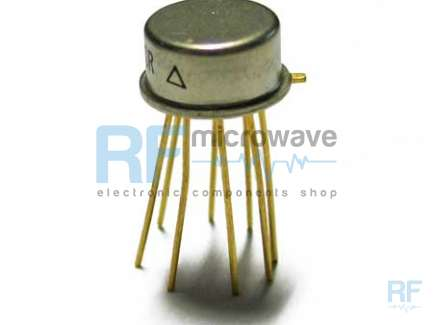 Plessey Semiconductors SL611C RF/IF amplifier integrated circuit, supply voltage 6V, 8-lead metallic package