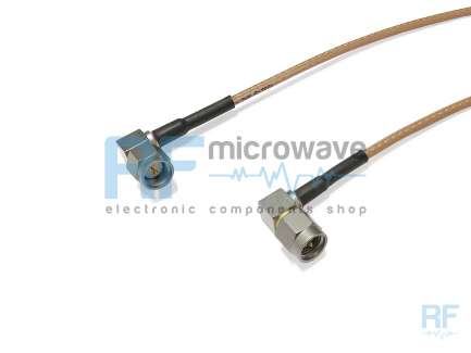 QAXIAL S07S07-02-00200 Cable assembly, 2x SMA right angle male, RG316/D, 20 cm