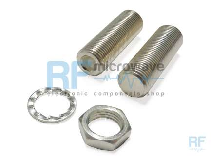 Silver-plated brass tuning screw, M8x0.75, with nut and washer